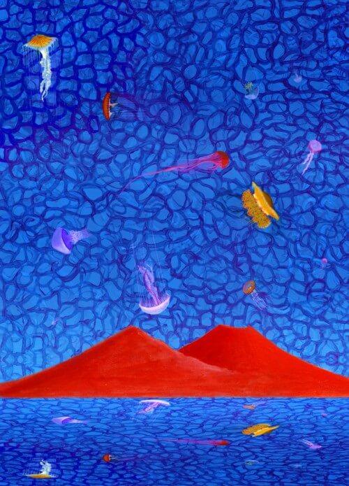 Meduse - blu e rosso - 134-3737