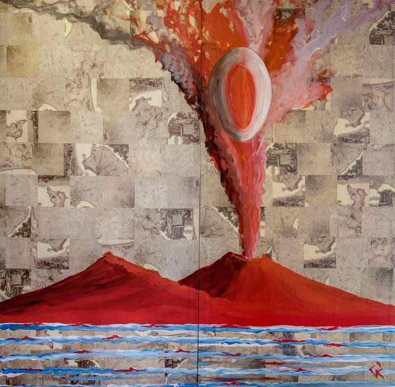 L'opera realizzata da Gennaro Regina durante la performance su Castel dell'ovo
